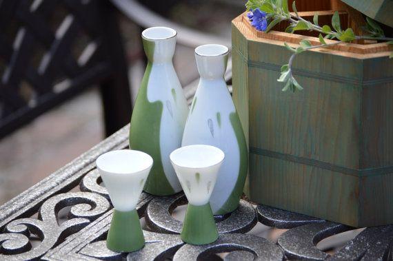 Japanese Seyei Fine China White Moss Green Sake Set 5 By KAGUMISE
