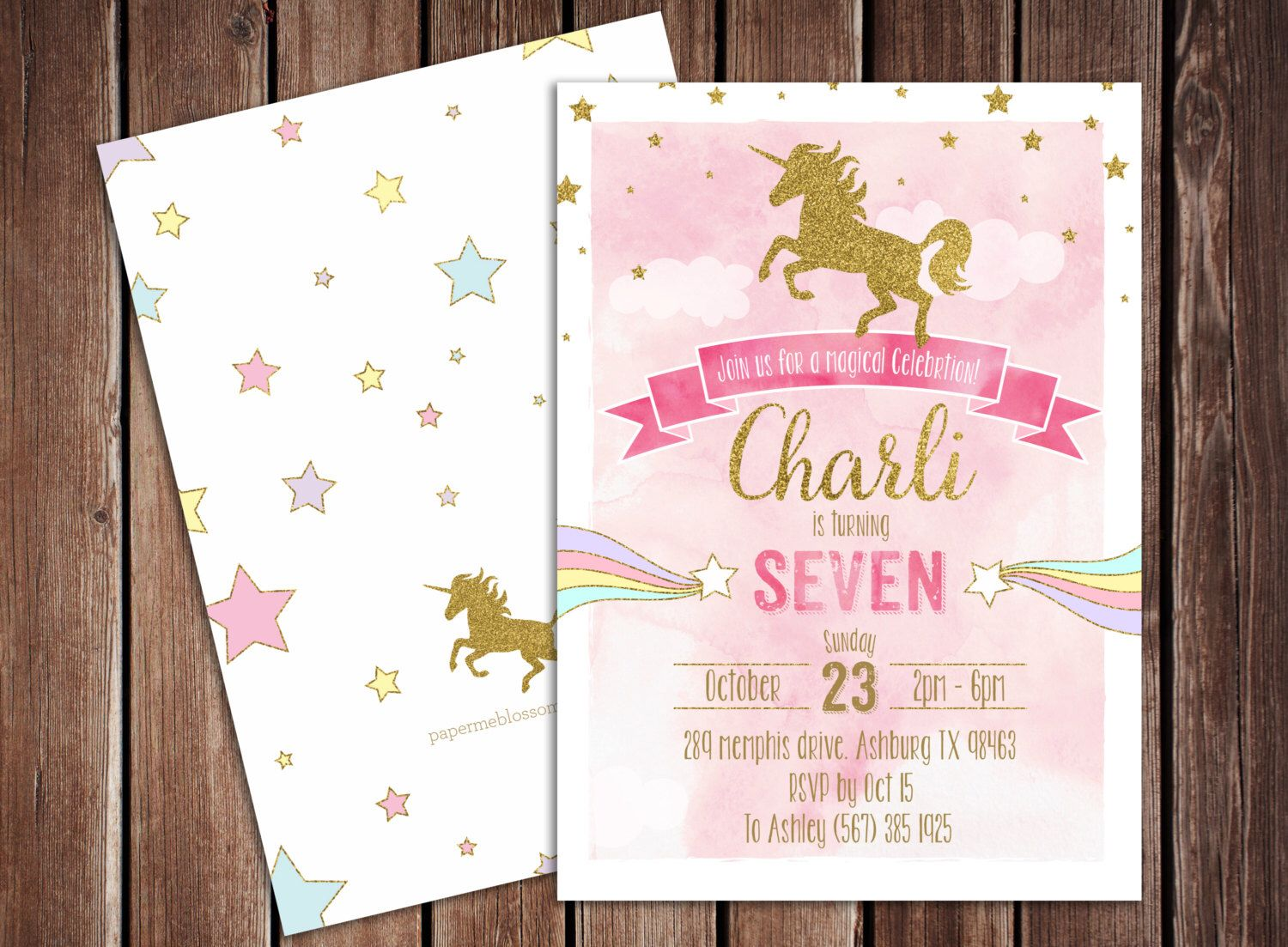 printable horse birthday party invitations free%0A Magical Rainbow Gold Unicorn Birthday Printable PDF Invitation   x  double  sided  Watercolor Gold Glitter