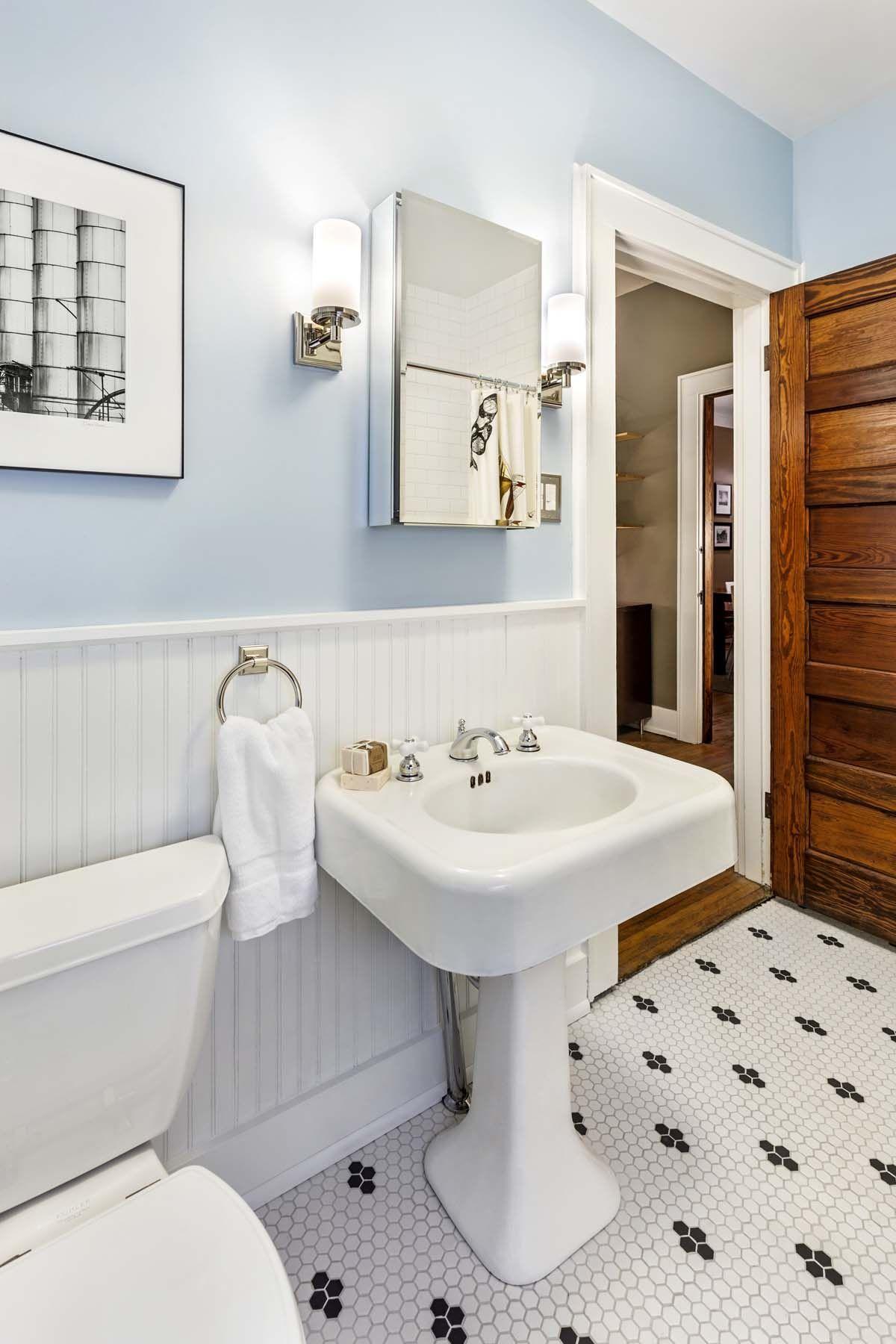 Renovated guest bathroom in 1920 Craftsman bungalow. Espresso ...