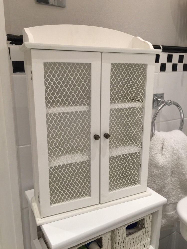 shabby chic white bathroom wall cabinet in home furniture diy rh pinterest com