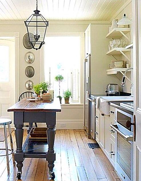 Small Linear Kitchen With A Vintage Island Small Cottage Kitchen Kitchen Cabinets Decor Kitchen Remodel