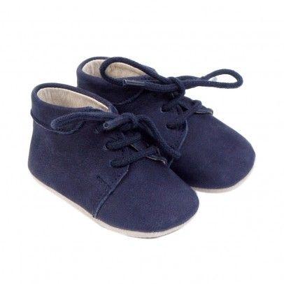 magasin en ligne 32edf a535b Chaussons lacets veau velours Bleu marine Petit Nord | Bébé ...