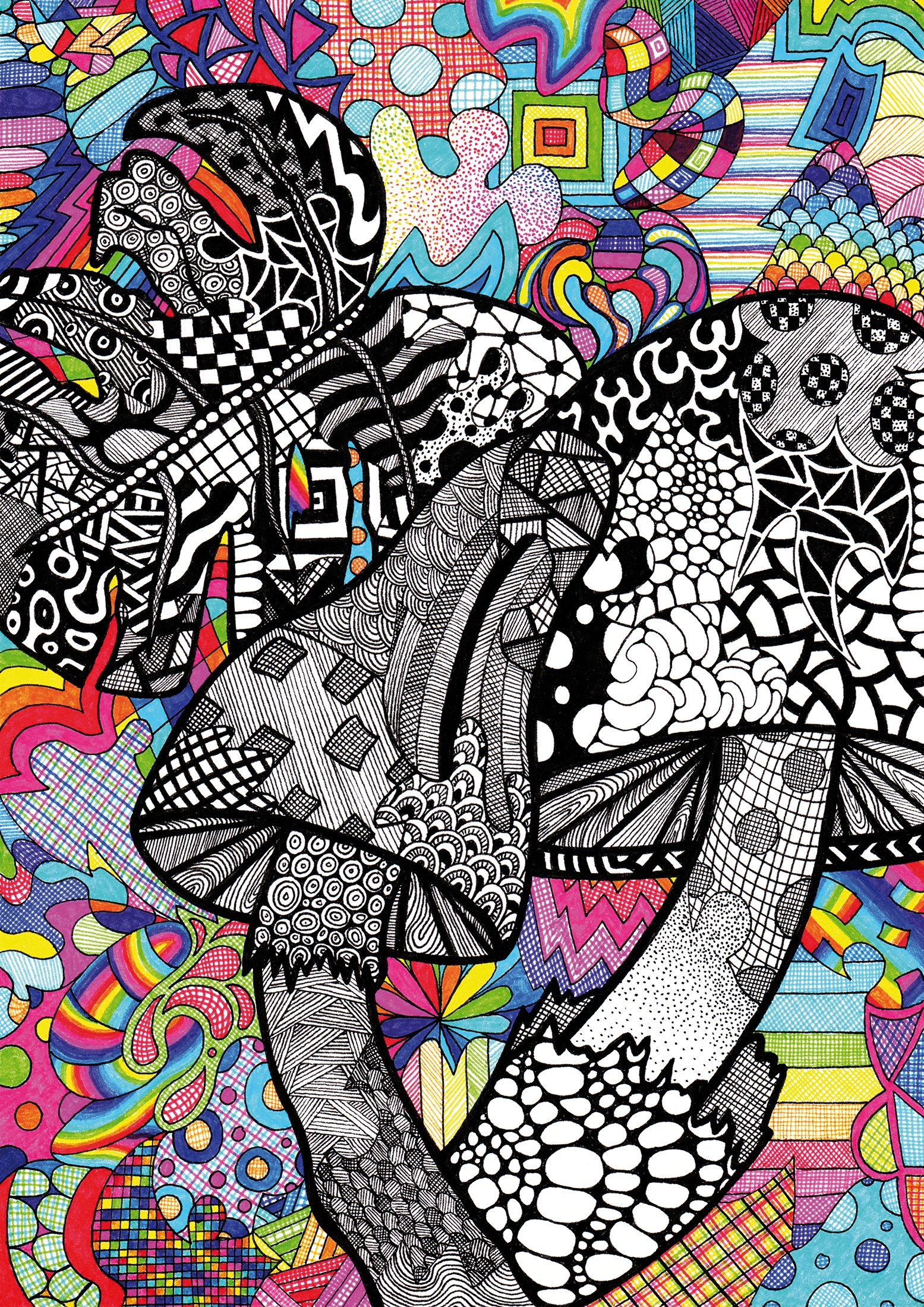 Abstract Mushrooms Drawing Pattern Art Line Drawing A4 Art Printing Colorful Modern Art Handmade Art Print Let S Get Fungi Tonight Mushroom Drawing Pattern Art Line Art Drawings