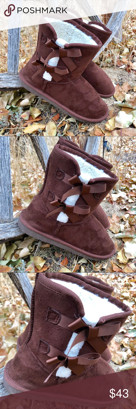 New! Brown and White Sherpa Boots With Ribbon Bows The go to cold weather Boot!!! Brown faux suede slip on Boot with Brown Ribbon Bows and White Sherpa lining  Perfect with oversized sweaters and leggings or skinny jeans and bomber jackets. Outfit choices are limitless for the easy on/off boots. They'll even make you pajamas look cuter ❤️ New In Box True to size  Shipped straight from our BOUTIQUE  NO RETURNS PLEASE REFER TO POSHMARK RULES  ☮️❤️