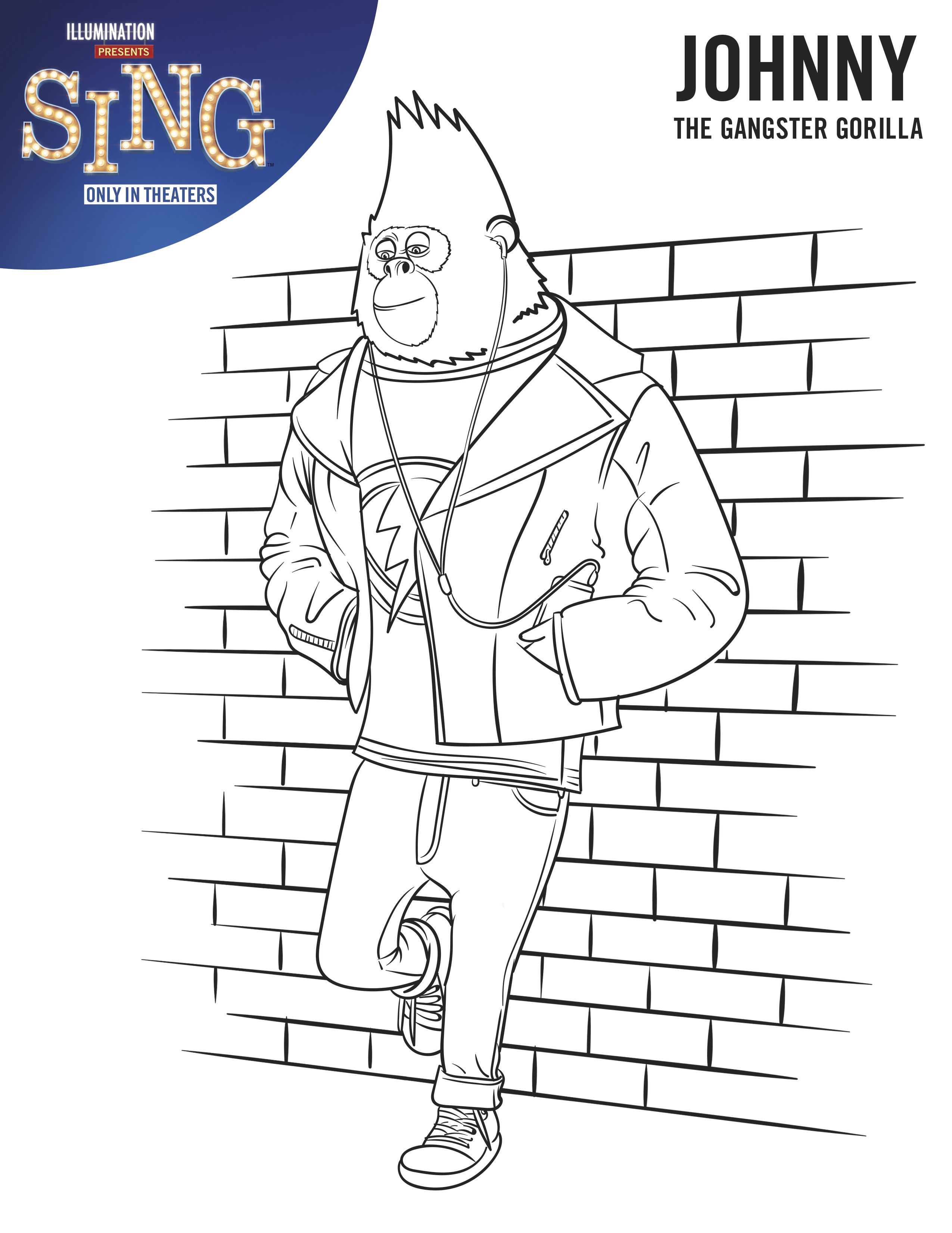 Johny - Sing Movie Coloring Page | Coloring Pages | Pinterest