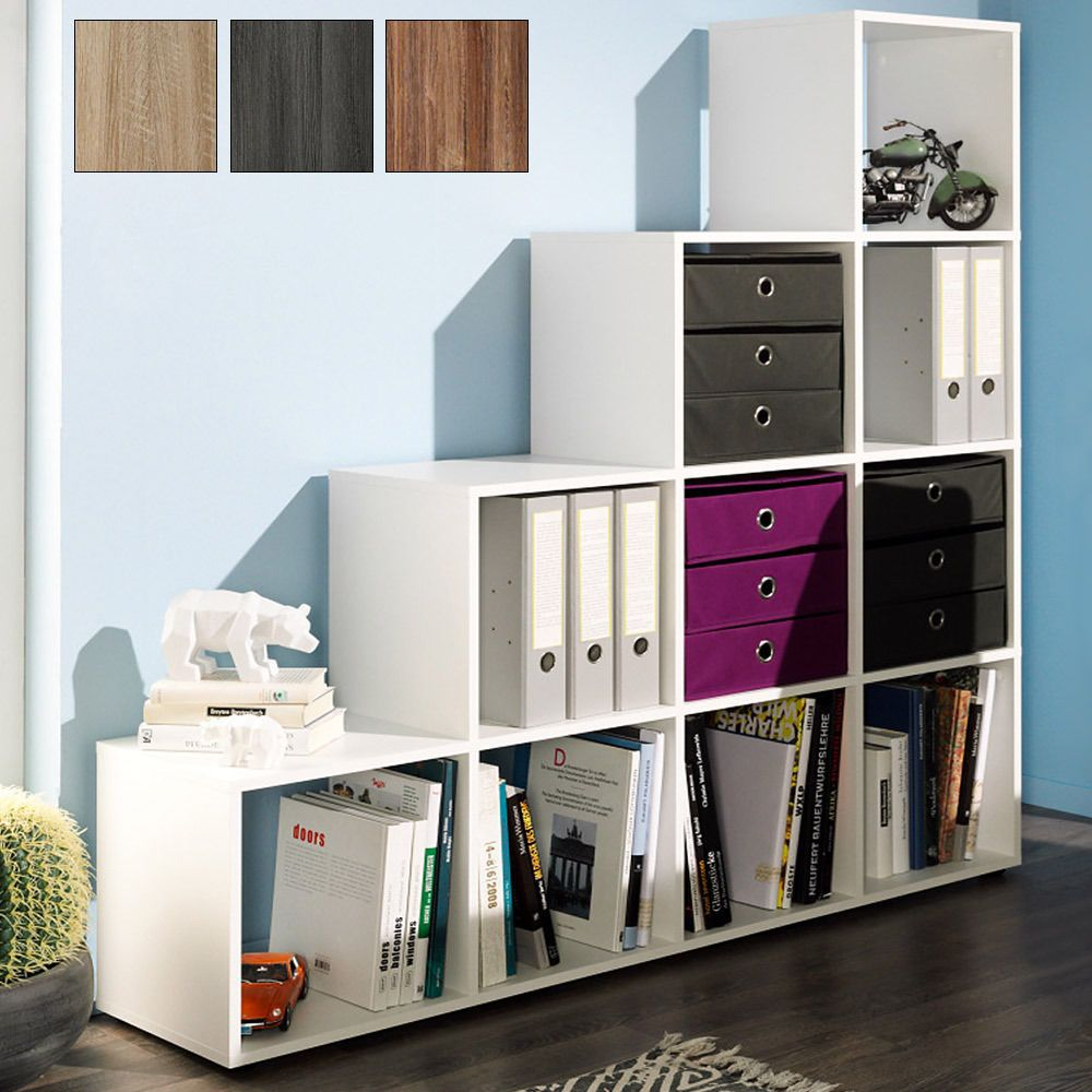 Delightful Step Storage Shelf Cube Wooden 10/6 Boxes Bookcase Shelving Unit Oak White