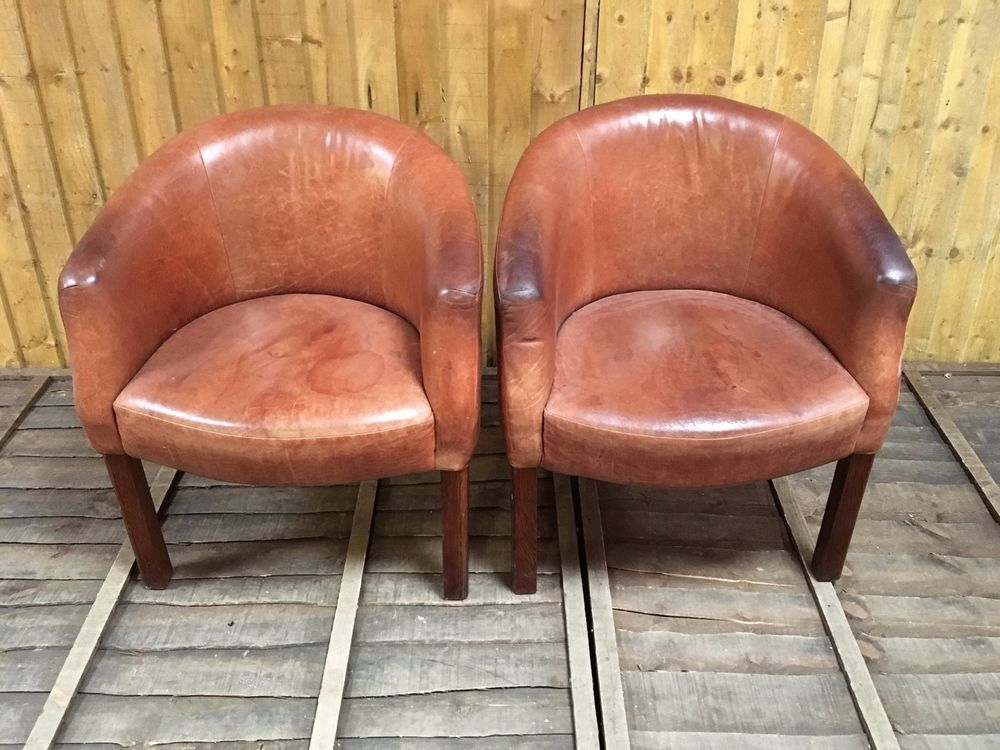 Leather · PAIR OF BROWN LEATHER TUB CHAIRS ...