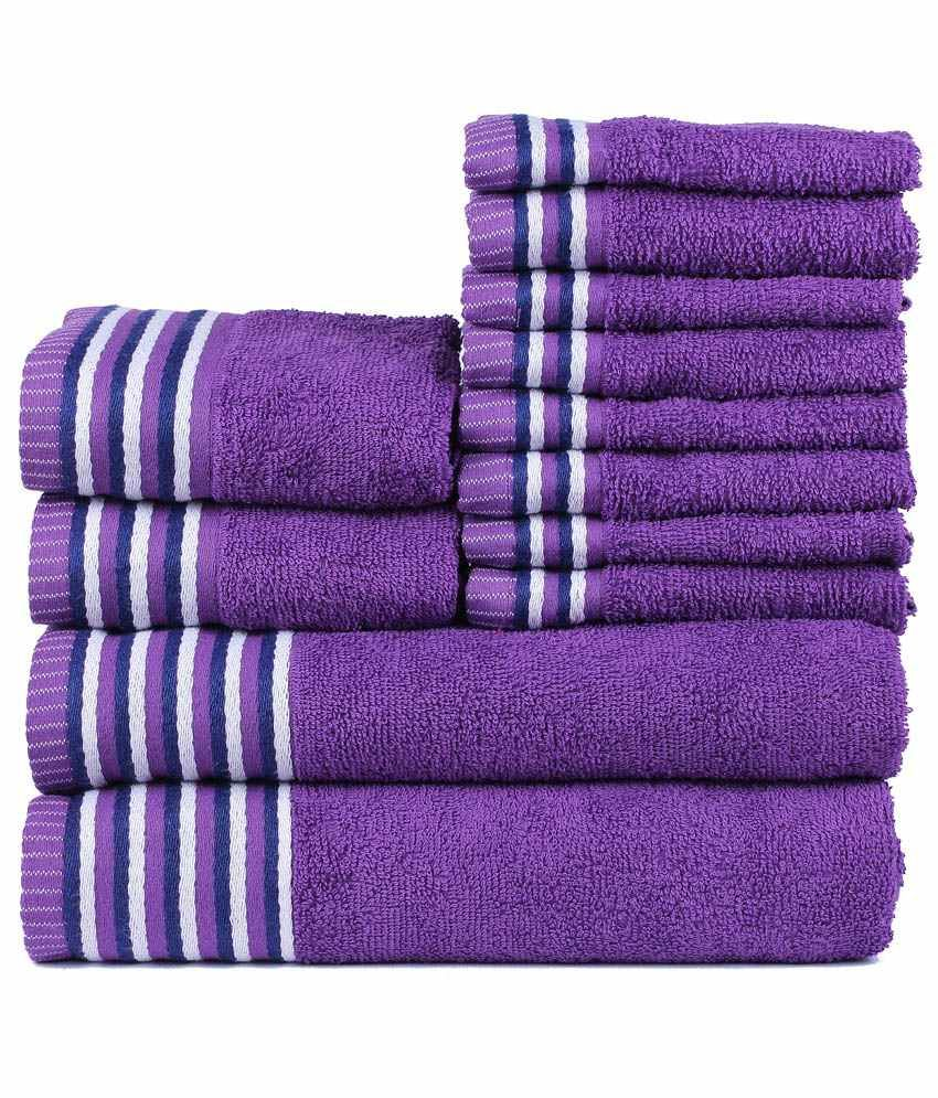 60 discount on trident neon purple cotton towel set of 12 pcs