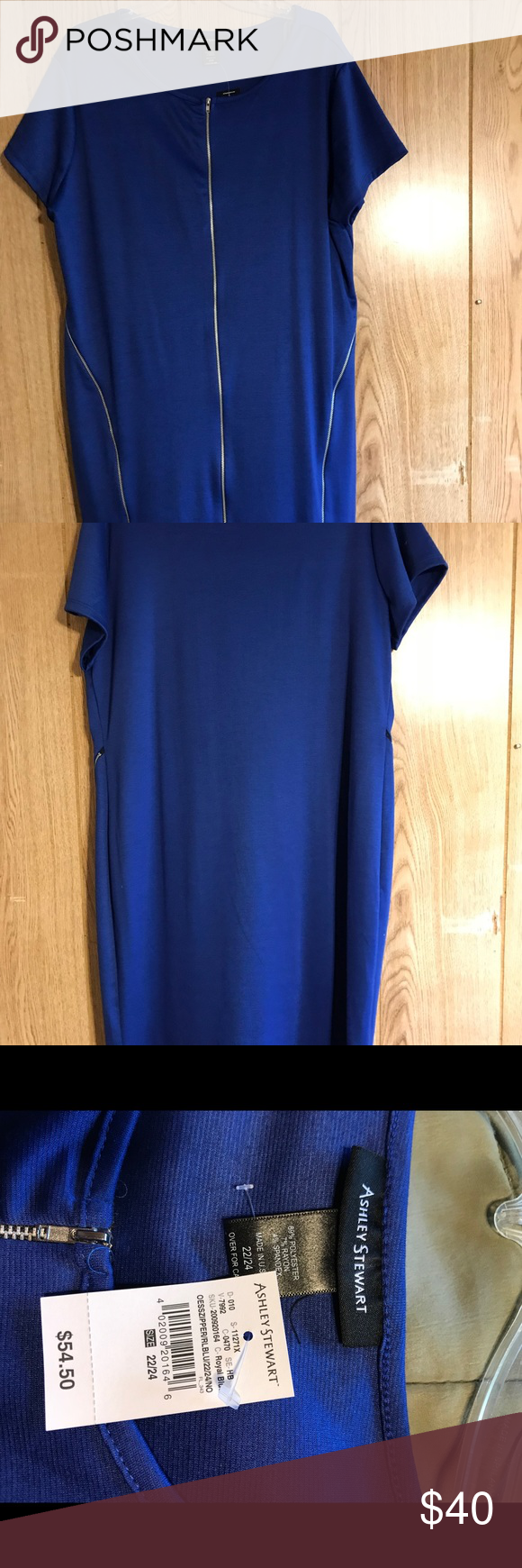 3322e101687 NWT Ashley Stewart Dress Dress has a full working zipper in the front. Plus  has a curved zipper on each side of the dress. Brand new with tags.
