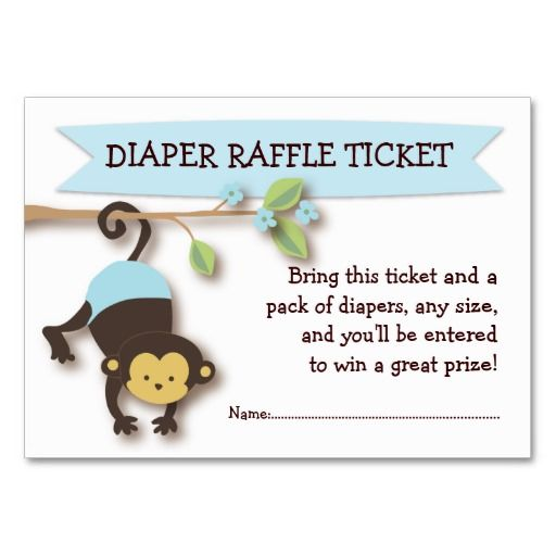 Monkey Baby Shower Diaper Raffle Ticket Insert Business Card