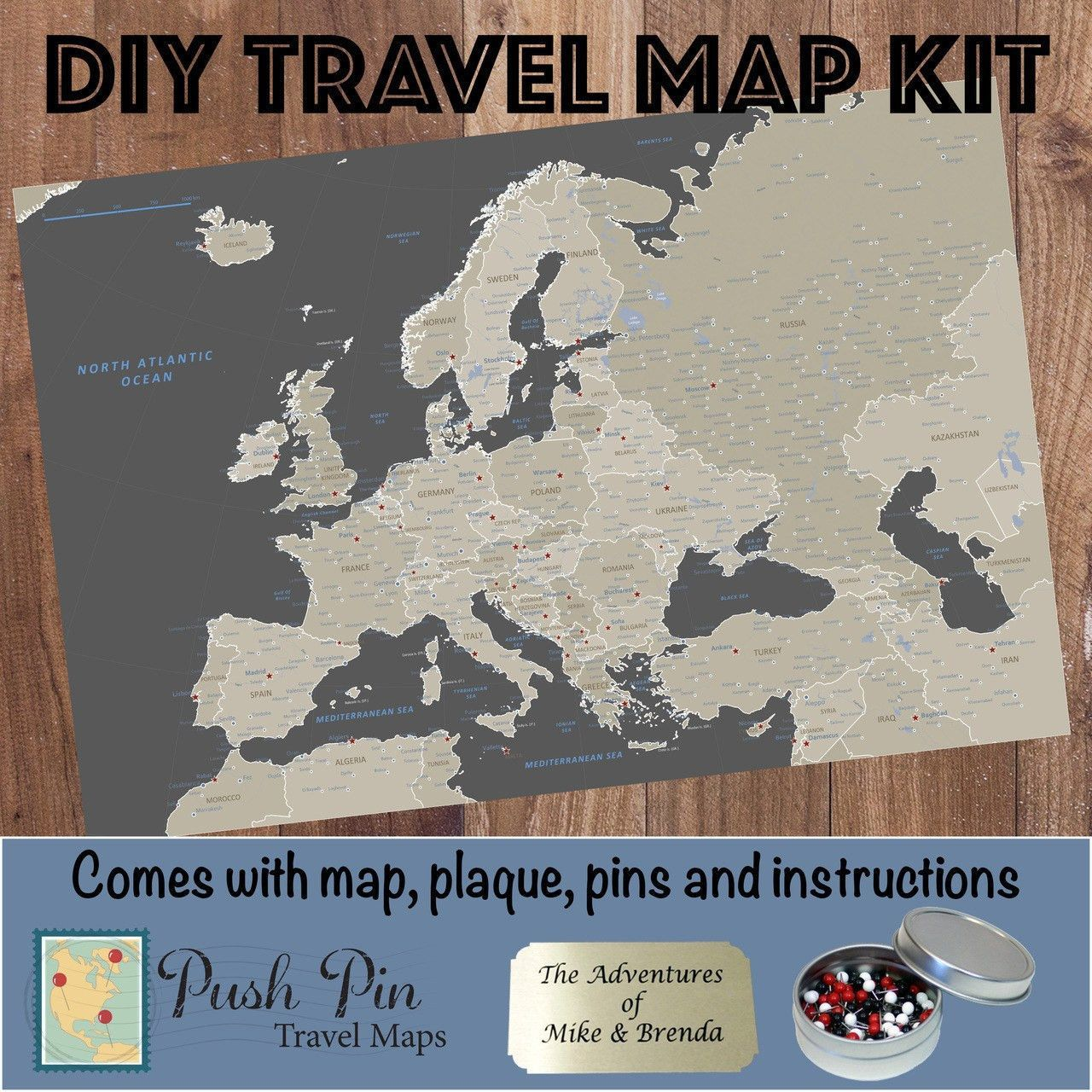 DIY Earth Toned Europe Push Pin Travel