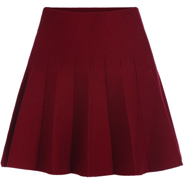 Romwe Elastic Waist Flare Maroon Skirt found on Polyvore featuring ...