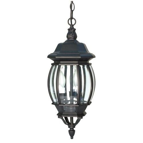 Nuvo Lighting 60-896 Central Park 3 Light Up Lighting Outdoor Pendant in Textured Black