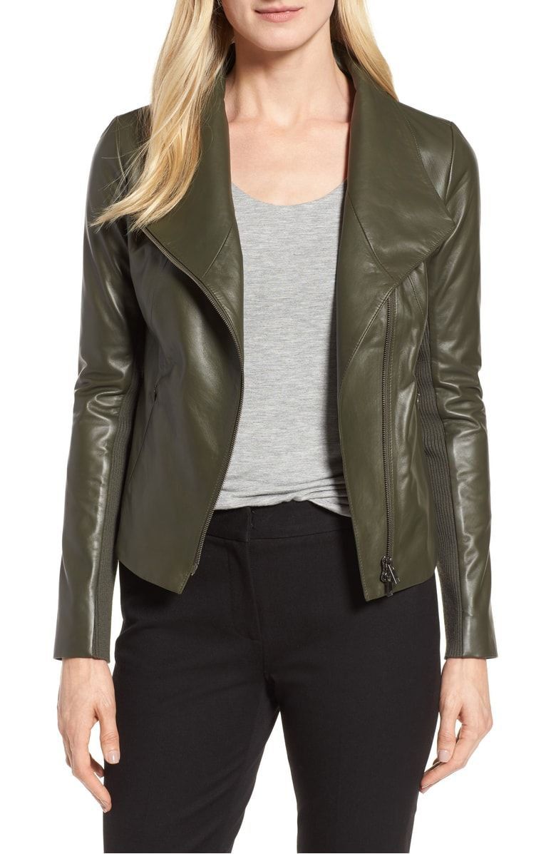 Stand Collar Leather Jacket Main Color Olive Sarma Green