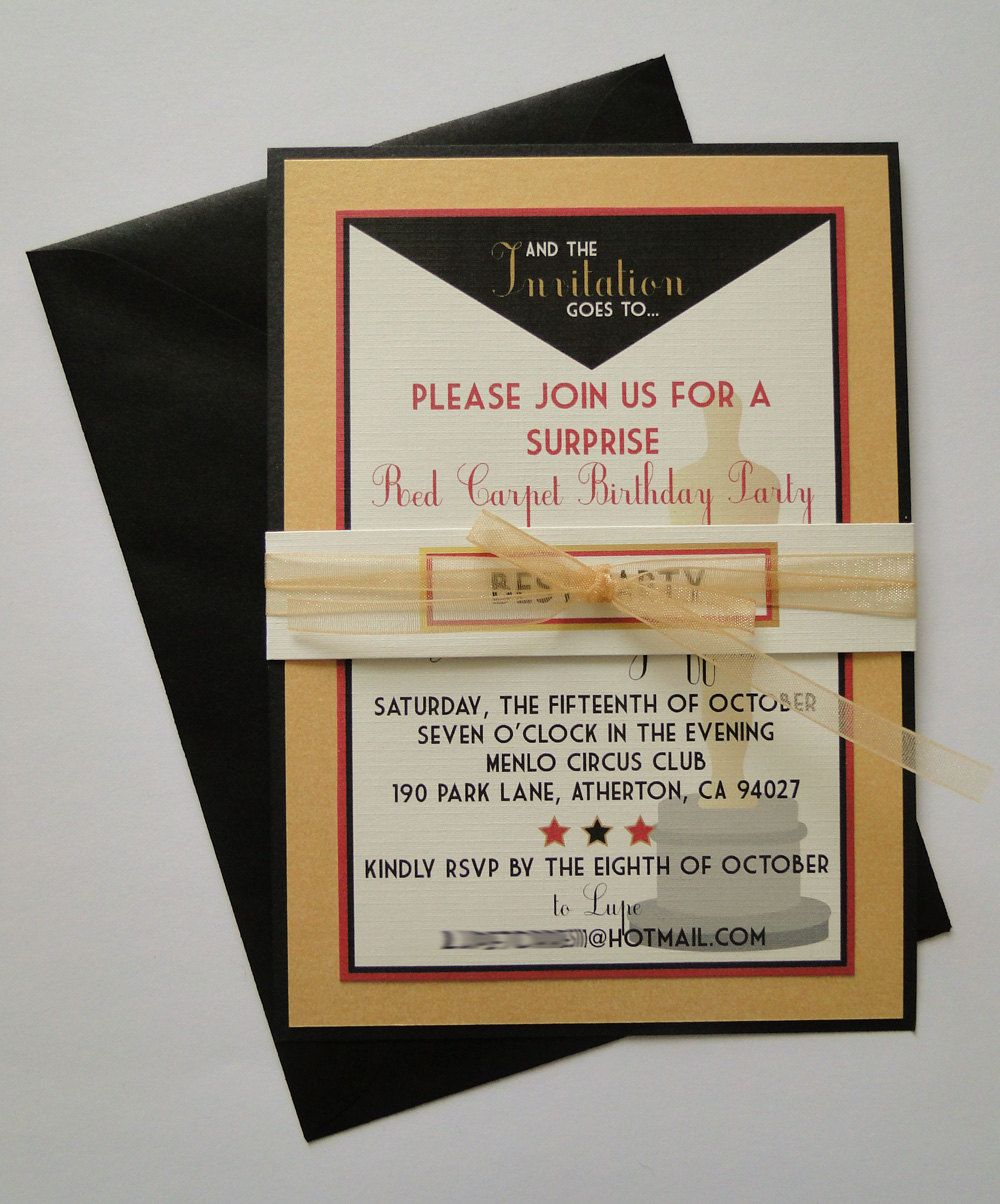 Custom Hollywood Themed Birthday Party Invitations 10000 via – Hollywood Themed Party Invitations
