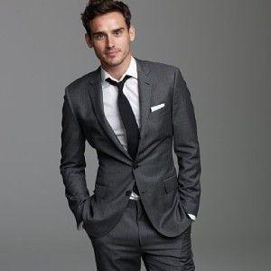 Groom And Groomsmen Dark Gray Suit White Shirt Black Tie