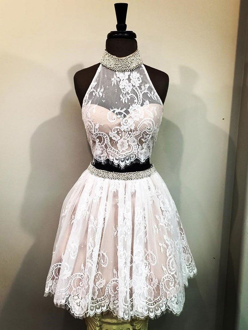 Ivory lace high neck piece short homecoming dresses apd