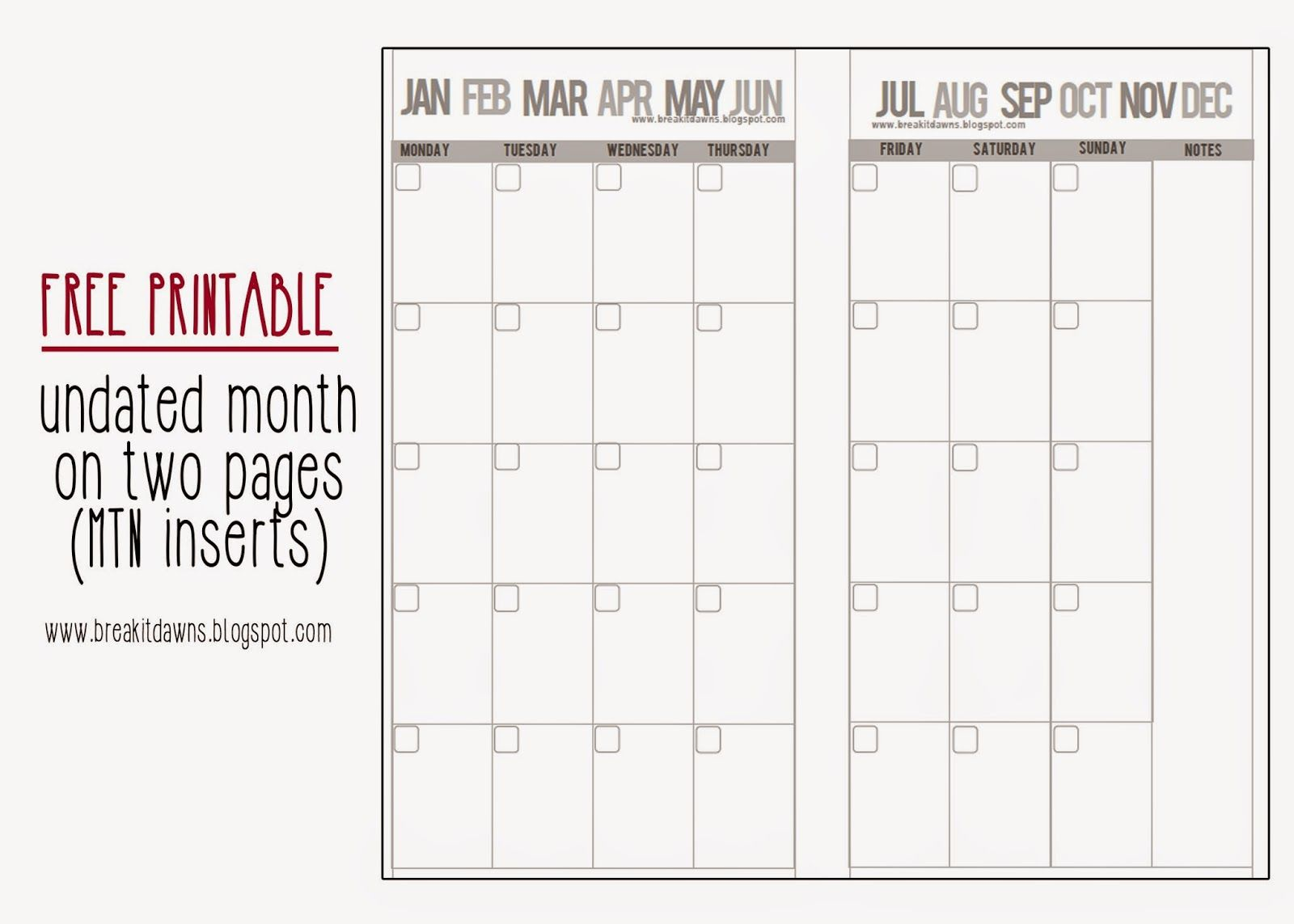 Break of Light: FREEBIE: Undated Month on 2 pages MTN ...