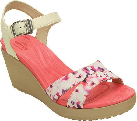 ec1e36dce001 Women s Crocs Leigh II Ankle Strap Graphic Wedge Sandal - Stucco Gold  Sandals