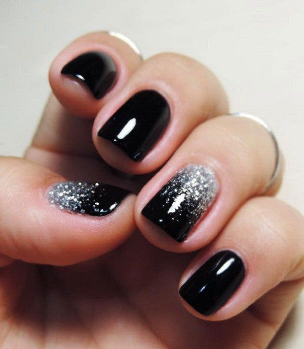 Silver Glitter on Black Nails. - 25+ Elegant Black Nail Art Designs Black Nails, Silver Glitter And