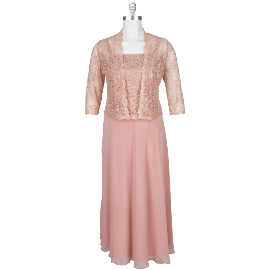 KM Collections Plus Size Chiffon and oLace Gown with Boler. Mother ...