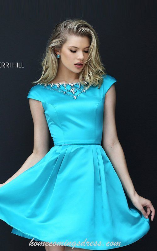 2016 Sherri Hill 50534 Tur Beads Satin Homecoming Dress Short | beauooootee  | Pinterest | Homecoming dresses, Homecoming and Satin