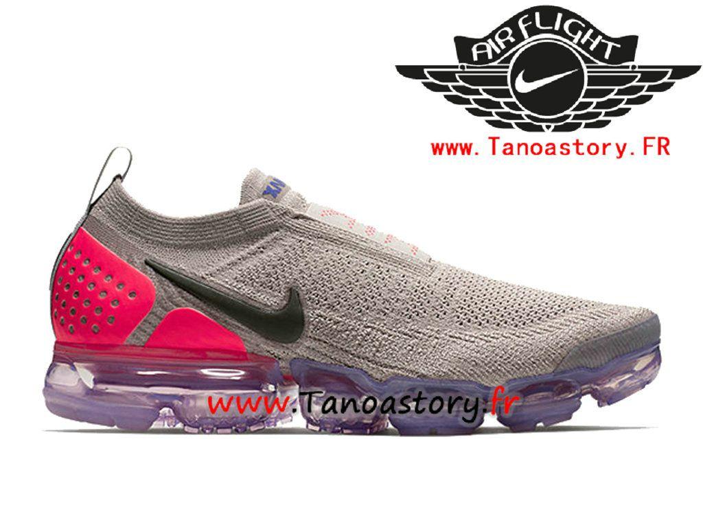 best cheap bcbbd e4b4b Chaussures Homme Nike VaporMax Flyknit 2.0 Moc Officiel 2018 Pas Cher Gris  Rose AH7006-201