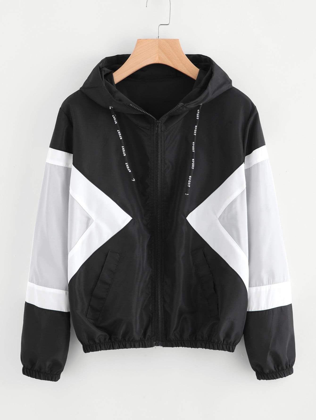 Contrast Panel Hooded Jacket   Coats jackets women, Women's