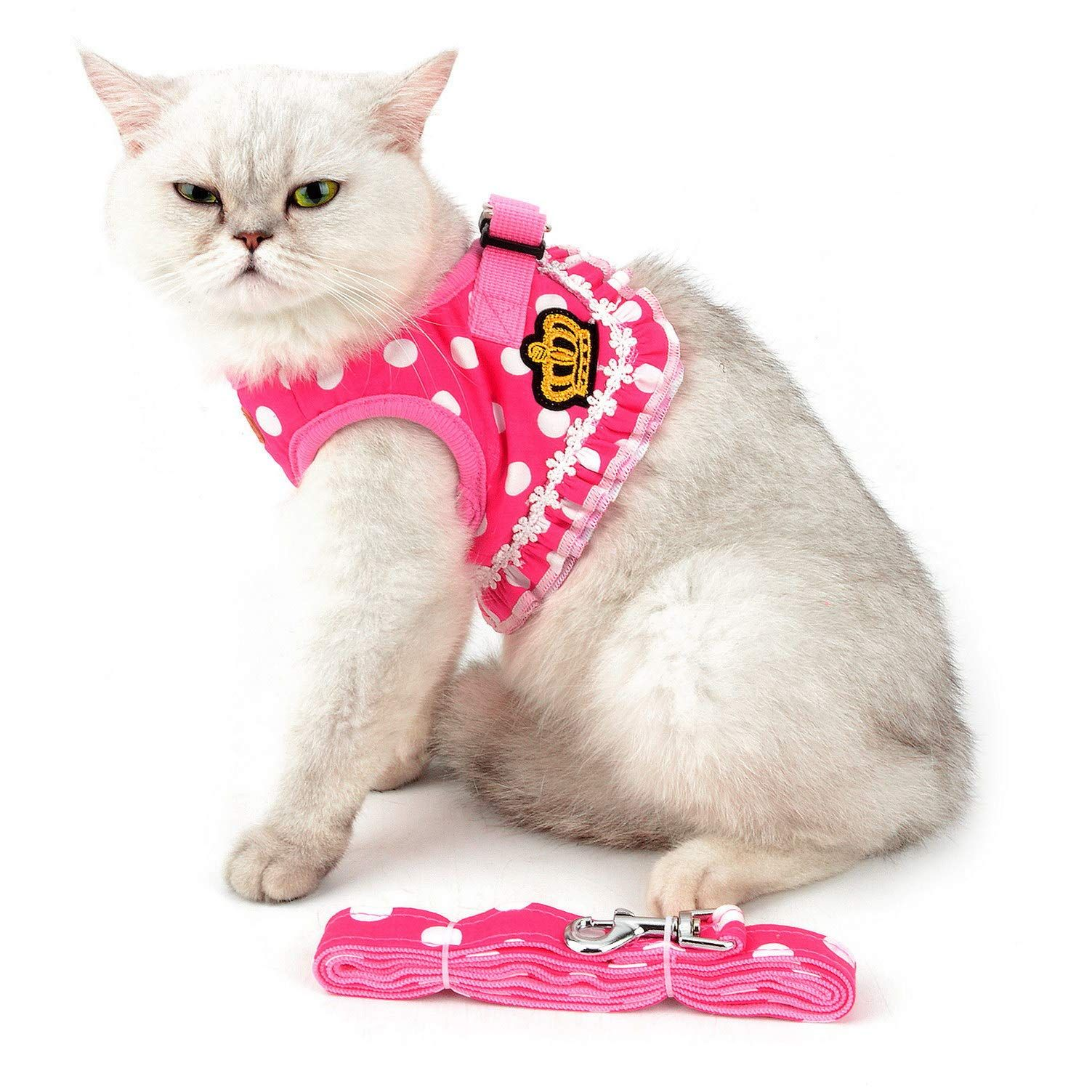 SMALLLEE_LUCKY_STORE Polka Dot Crown Ruffle Cat Harness