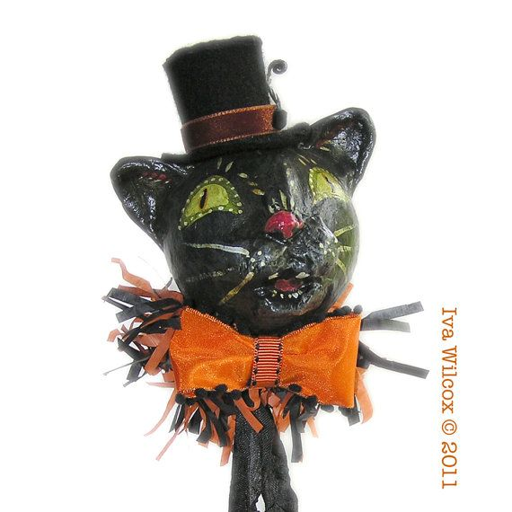 Halloween Black Cat with Top Hat Paper Mache by ivascreations,