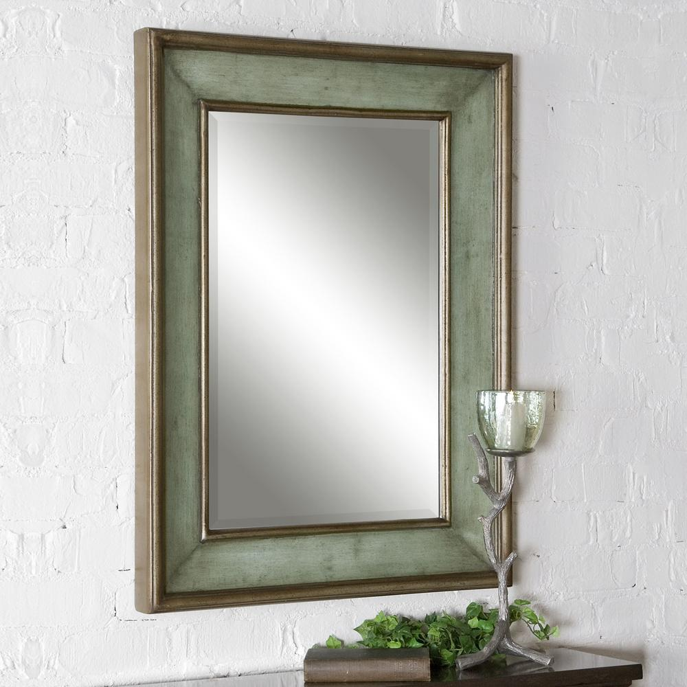 36 In X 26 Rubbed Blue Wood Rectangular Framed Mirror Woods And Products