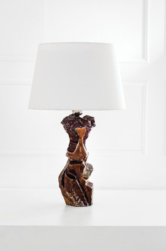 Leoncillo Leonardi Attributed; Glazed Terracotta Table Lamp, 1950s.