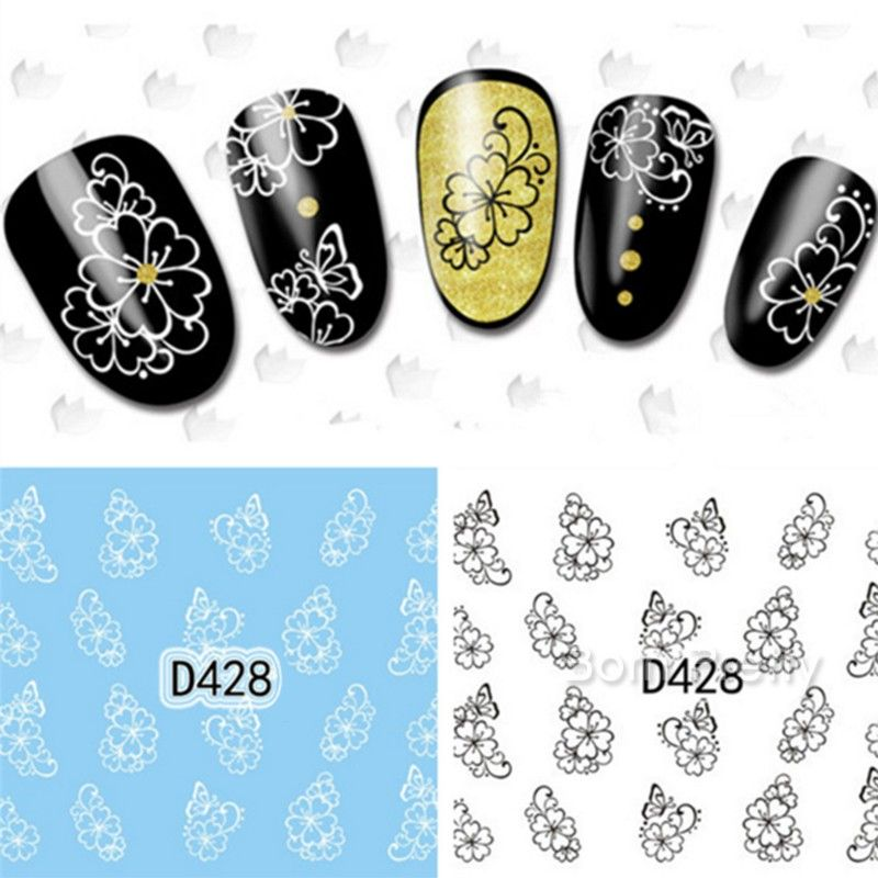 $0.99 Nail Art Water Decals Transfers Sticker Blooming Floral Decor Pattern #KH014A - BornPrettyStore.com