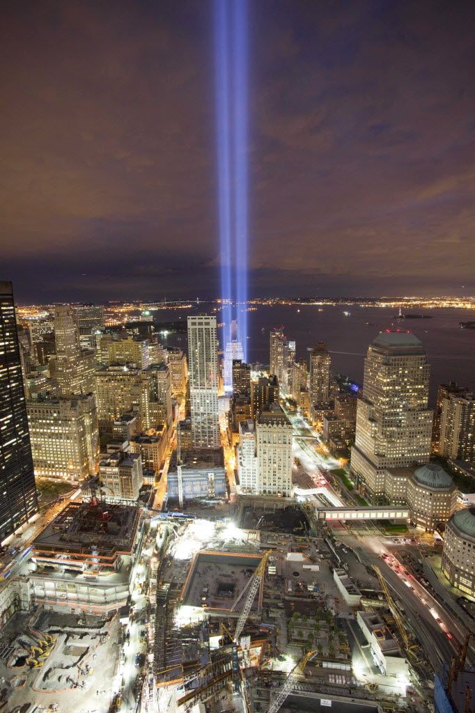 Tribute in Light shines above the World Trade Center site
