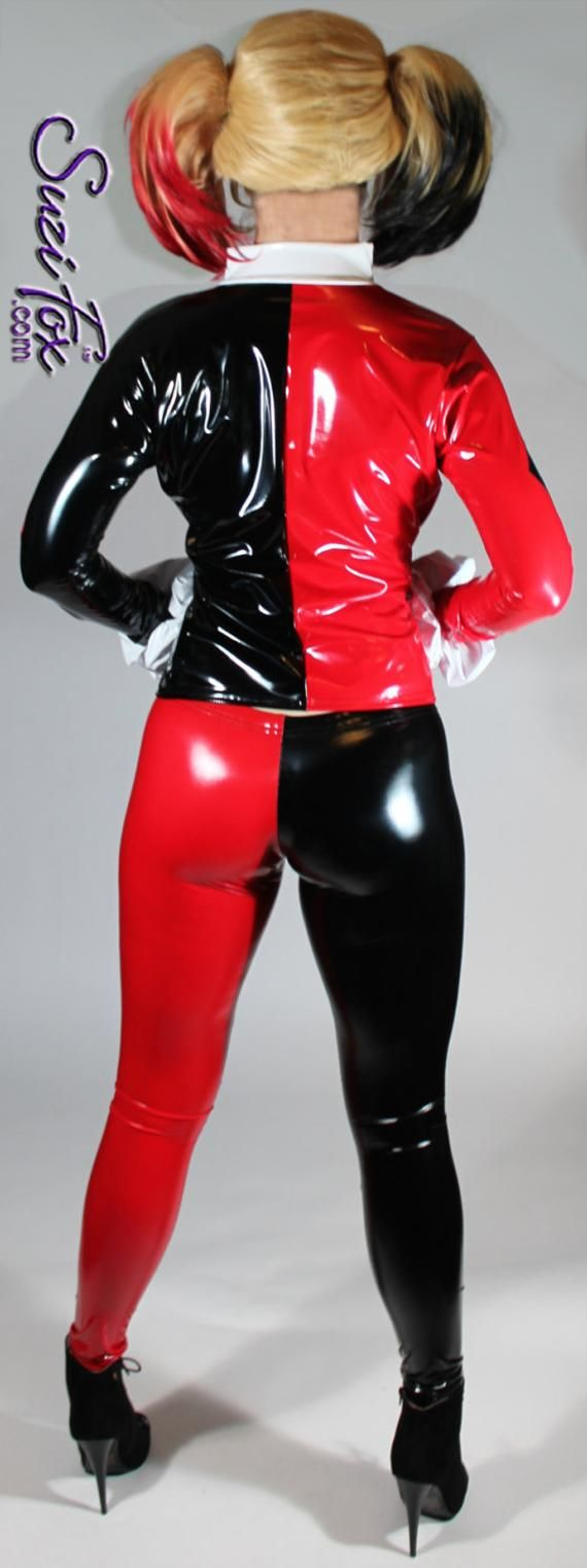 Harley Quinn style Leggings in Stretch Gloss Black and Red Vinyl pvc by Suzi Fox