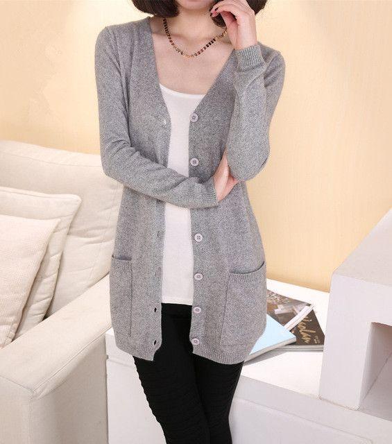 2017 Lady Wool Sweater Fashion Medium Long Cashmere Cardigan Women ...