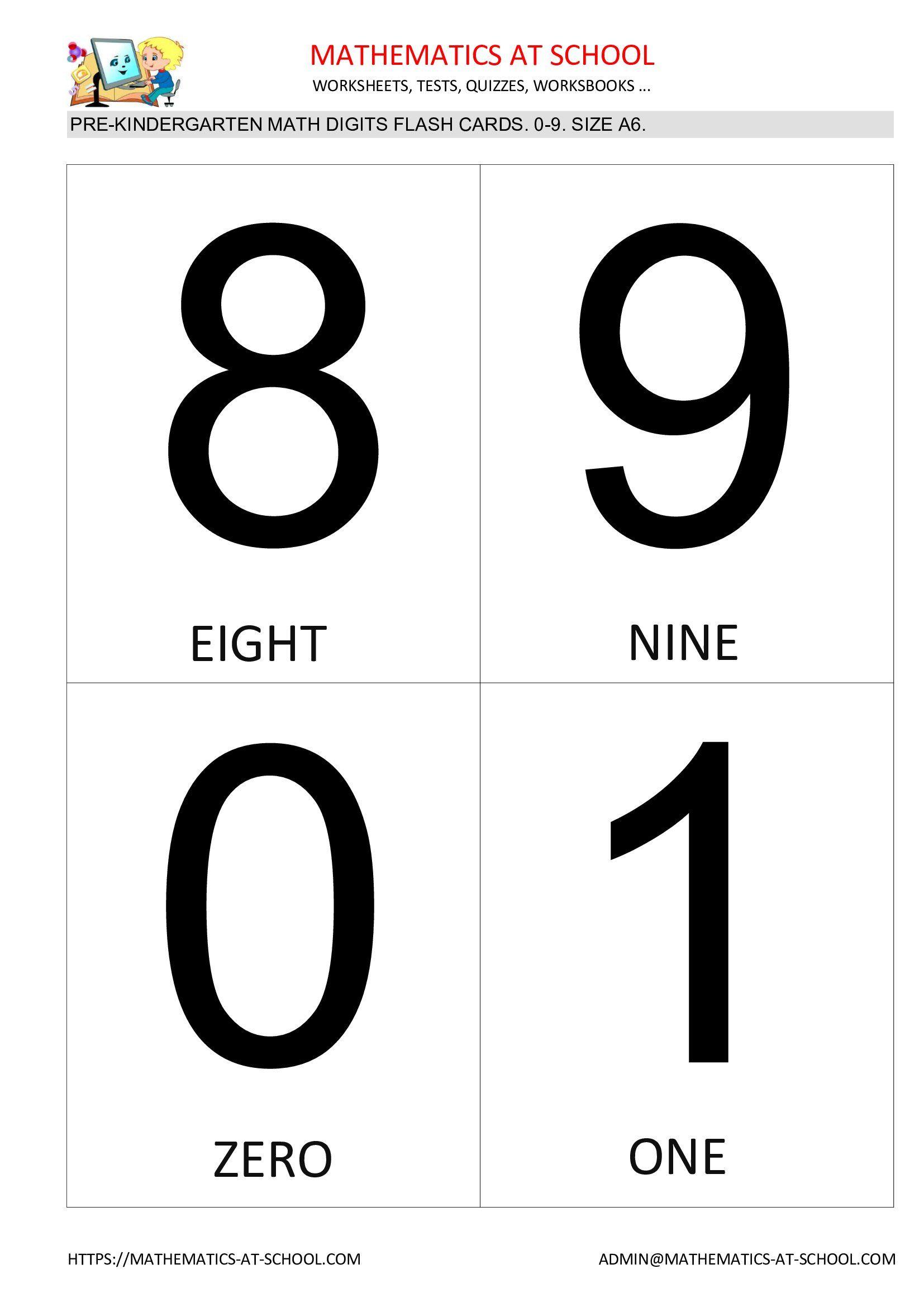 Pre Kindergarten Math Flash Cards Numbers 0 1 2 3 4