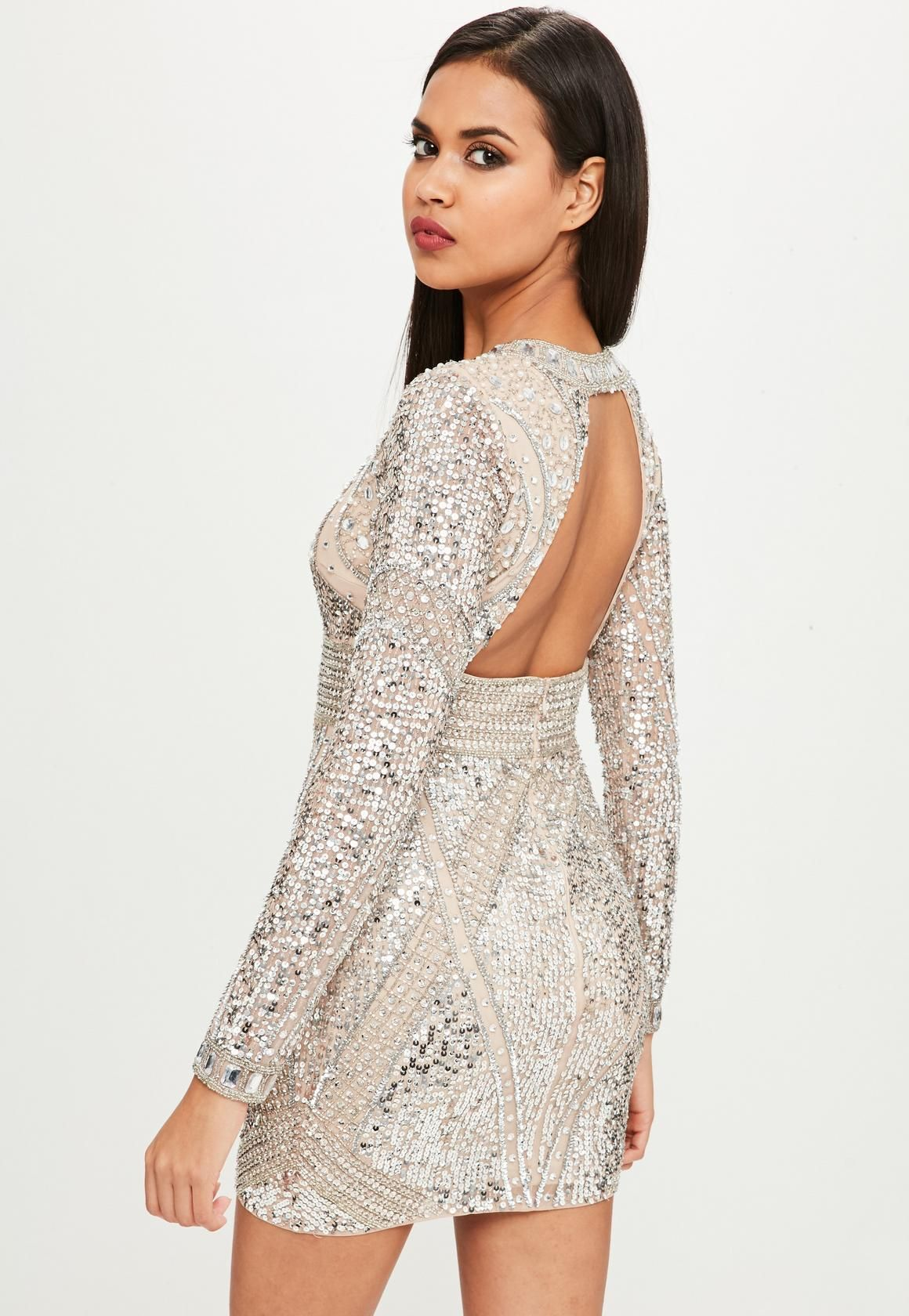 11e3597466c1 Missguided - Carli Bybel x Missguided Nude Embellished Mini Dress