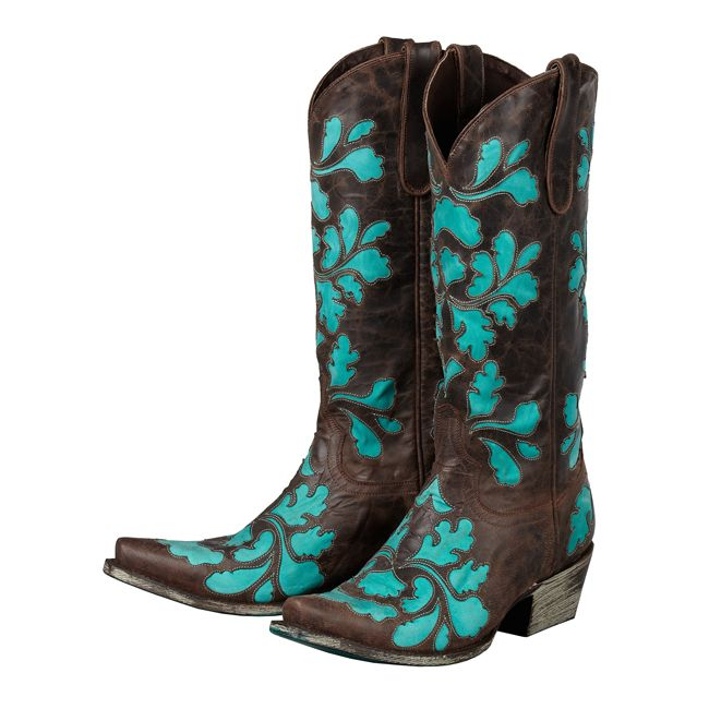 Brown And Teal Cowgirl Boots - Cr Boot