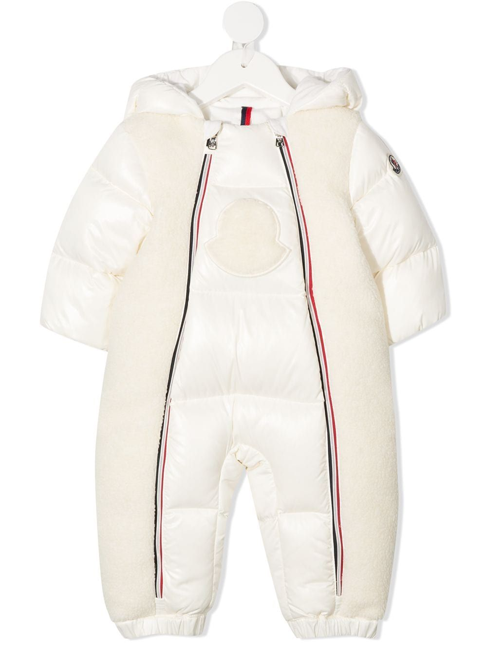 Moncler Enfant padded logo patch snowsuit - White