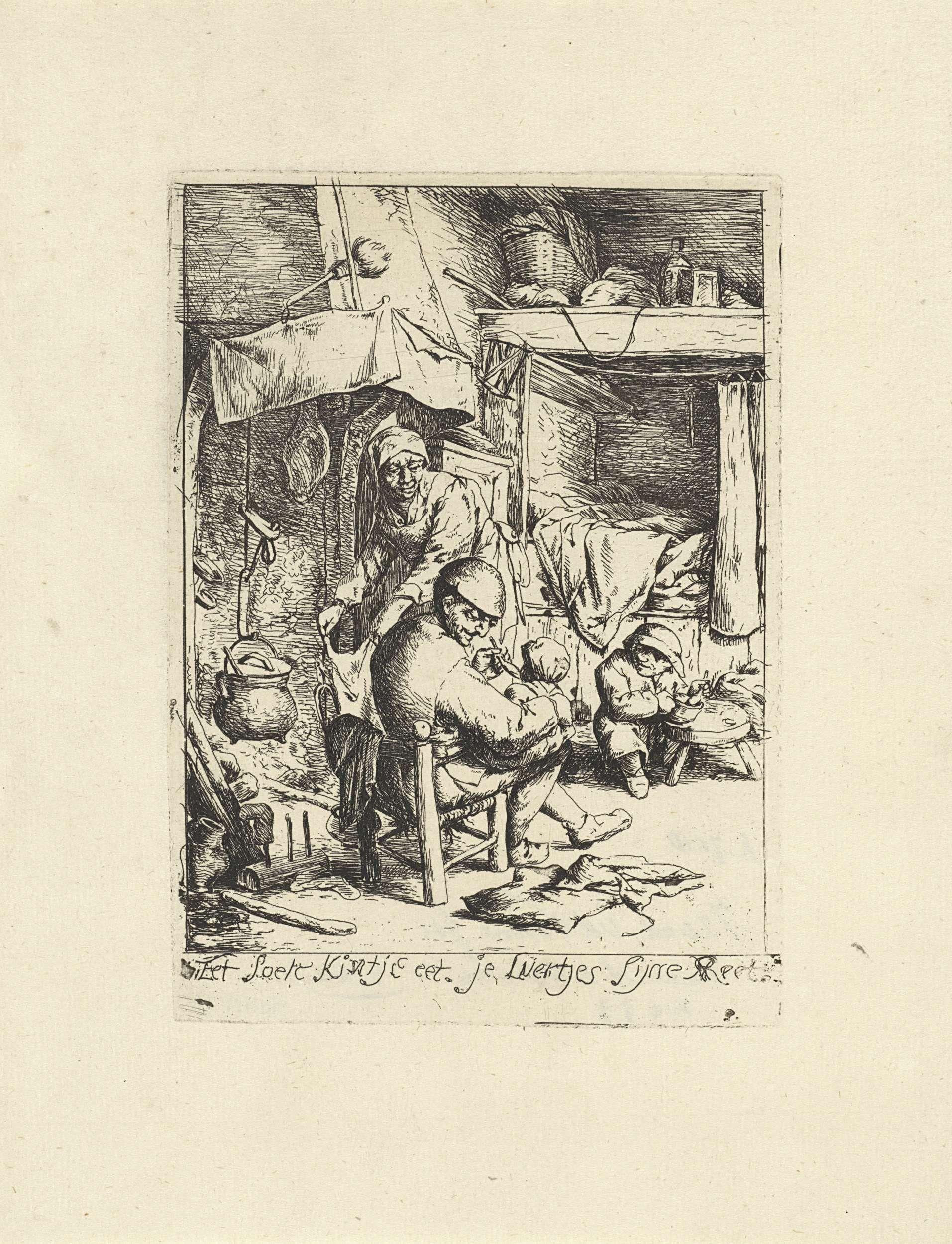 Jacob Laurensz. van der Vinne | Vader voedt een kind, Jacob Laurensz. van der Vinne, Adriaen van Ostade, 1699 | In een boereninterieur heeft een man een kind op schoot dat hij voedt met een lepel. Bij het haardvuur, waarboven een kookpot hangt, staat een vrouw. Bij een lage tafel bij de bedstee eet en kind. Onder de afbeelding het onderschrift: Eet soete kintje eet, je luertjes sijne Reet (eet zoet kindje eet, je luiers zijn klaar).
