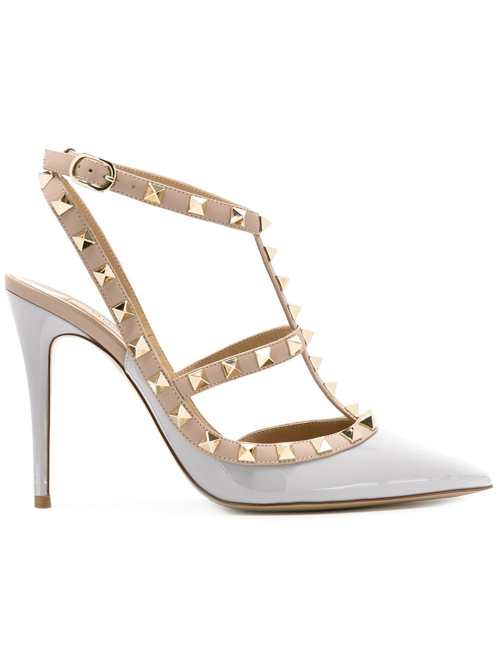 be23cc563e9 Valentino Rockstud Rockstuds Pastel Blue Gray Patent Studded Pumps Shoes
