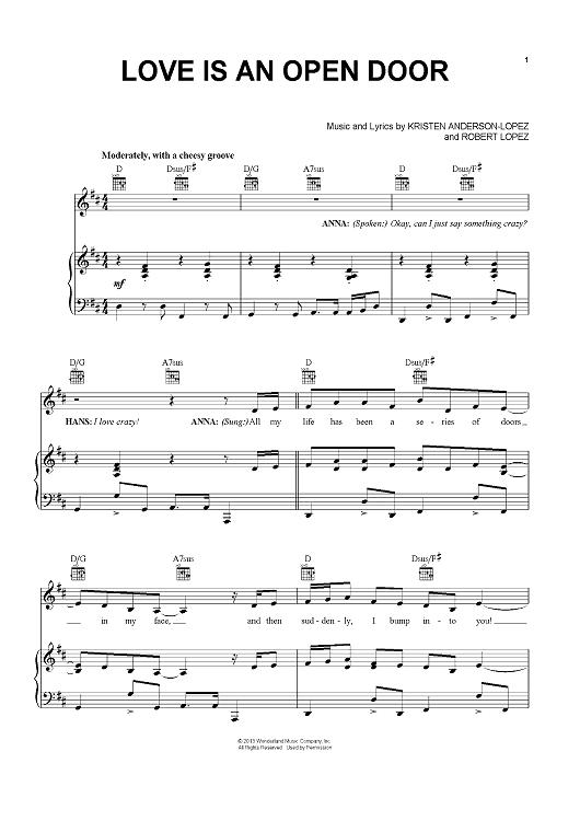 Love Is An Open Door Sheet Music By Robert Lopez