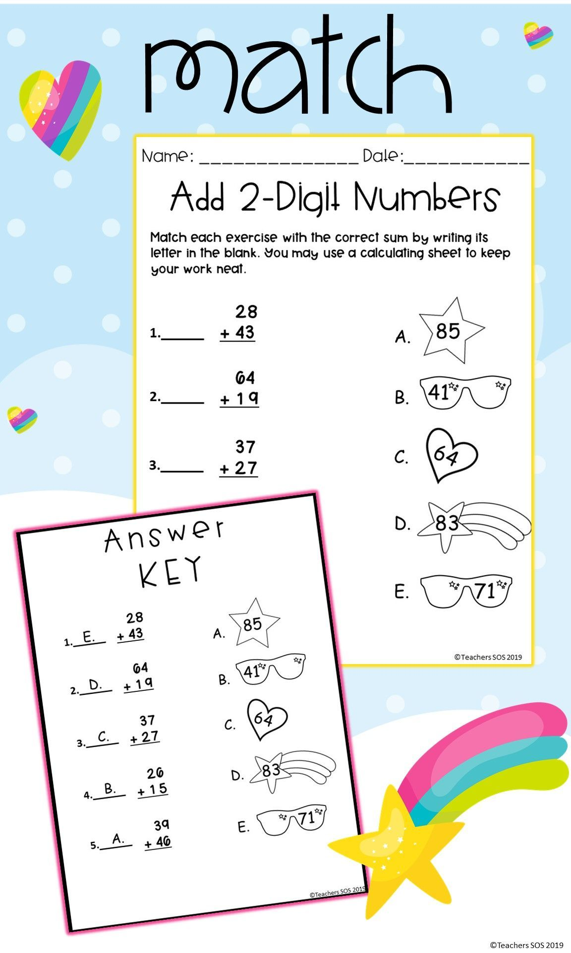 Adding Two Digits With Regrouping Worksheet Distance