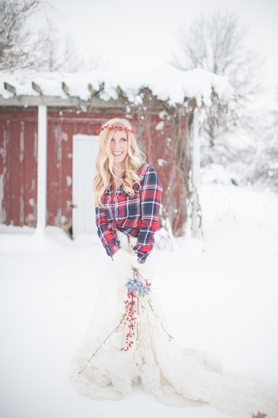Plaid wedding dress  Plaid  Snow Bridal Shoot  Bridal shoot Snow and Weddings