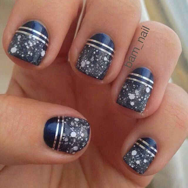 navy blue and silver nails