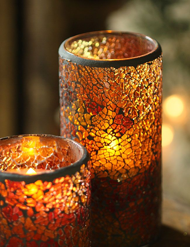 6 Inch Amber Mosaic Glass With Led Battery Operated Candle