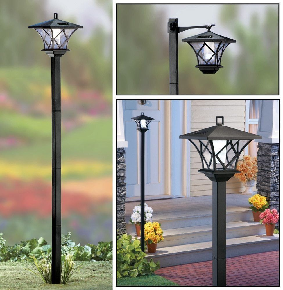 5 Ft Tall Solar Powered 2 In 1 Outdoor Garden Lantern Lamp Post