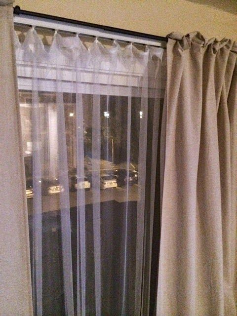 This Is A Blog Post About How Someone Took Out Their Vertical Blind Slats And Put In Some Sheer Fabric Into Vertical Blinds Makeover Diy Blinds Vertical Blinds