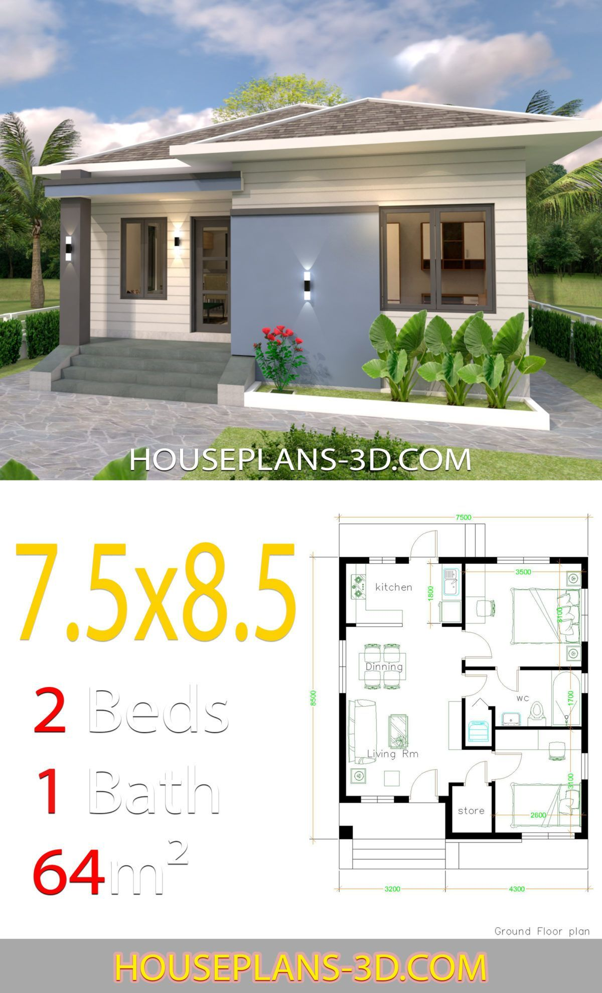 House Design 7 5x8 5 With 2 Bedrooms In 2019 Bedroom House Small House Plans Tiny House Plans House Plans
